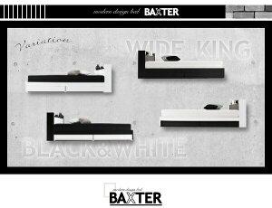 ベッドワイドキング240(セミダブル×2)【BAXTER】【ポケットコイルマットレス:レギュラー付き】フレームカラー:ホワイトマットレスカラー:アイボリー×ブラック棚・コンセント・収納付き大型モダンデザインベッド【BAXTER】バクスター