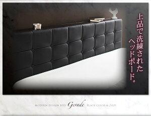 ベッドダブル【Gerade】【デュラテクノマットレス付き】ブラックモダンデザイン・高級レザー・大型ベッド【Gerade】ゲラーデ【代引不可】