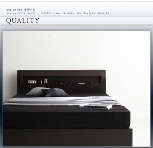 収納ベッドシングル【Silvia】【フレームのみ】ウェンジブラウン棚・コンセント付きデザイン収納ベッド【Silvia】シルビア【代引不可】