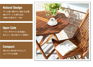 ガーデンファーニチャー3点セットB(テーブルA:正方形+チェアB:肘無2脚組)【fawn】チーク天然木折りたたみ式本格派リビングガーデンファニチャー【fawn】フォーン【代引不可】