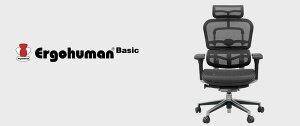オフィスチェアアームレスト付きランバーサポート付きErgohumanBasic(エルゴヒューマンベーシック)ロータイプ黒【代引不可】