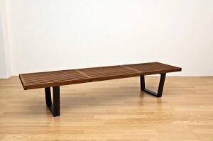 ネルソンベンチ(プラットホームベンチ)【幅180cm】木製ミッドセンチュリー風ナチュラル【代引不可】