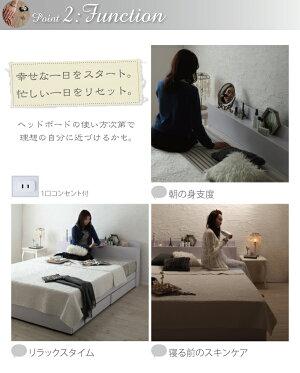 収納ベッドセミダブル【machatte】【国産ポケットコイルマットレス付き】ホワイト棚・コンセント付き収納ベッド【machatte】マシェット
