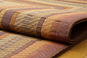 純国産/日本製袋三重織い草ラグカーペット夏用『D×グラデーション』ブラウン約191×250cm(裏:不織布)