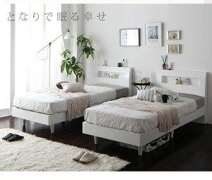 すのこベッドダブル【フレームのみ】フレームカラー:ホワイト棚・コンセント付きデザインすのこベッドWindermereウィンダミア