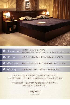 ベッドシングル【Confianza】【日本製ポケットコイルマットレス付き】ダークブラウン家族で寝られるホテル風モダンデザインベッド【Confianza】コンフィアンサ【代引不可】