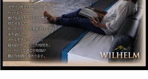 レザーベッドワイドK220【WILHELM】【ボンネルコイルマットレス:レギュラー付き】フレームカラー:ブラックマットレスカラー:ブラックモダンデザインレザーベッド【WILHELM】ヴィルヘルムワイドK220すのこタイプ