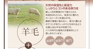 布団6点セットダブルブラウン羊毛混タイプボリューム布団6点セット【FLOOR】フロア