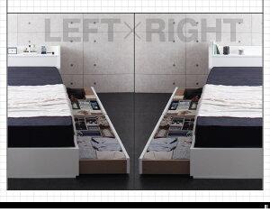 収納ベッドクイーン【Rizeros】【ボンネルコイルマットレス:ハード付き】ブラック棚・コンセント付収納ベッド【Rizeros】リゼロス【代引不可】