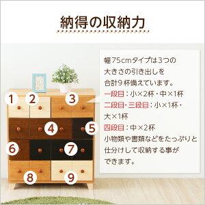 ナチュラルカラーチェスト/収納棚【幅75cm4段】木製/天然木使用日本製『wrobe-ローブ-』【完成品】【代引不可】