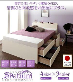 【組立設置費込】チェストベッドセミダブル【Spatium】【フレームのみ】ナチュラル日本製_棚・コンセント付き_大容量チェストベッド【Spatium】スパシアン【代引不可】