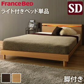 フランスベッド セミダブル フレーム ライト・棚付きベッド 〔クレイグ〕 レッグタイプ セミダブル ベッドフレームのみ 脚付き 木製 国産 日本製 宮付き コンセント ベッドライト