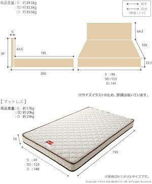 フラットヘッドボードベッド〔グリフィン〕収納なしダブルマルチラススーパースプリングマットレスセット