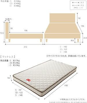 ライト・棚付きベッド〔クレイグ〕レッグタイプシングルマルチラススーパースプリングマットレスセット