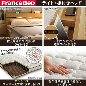 ライト・棚付きベッド〔ウォーレン〕ベッド下収納なしシングルマルチラススーパースプリングマットレスセット