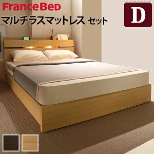 ライト・棚付きベッド〔ウォーレン〕ベッド下収納なしダブルマルチラススーパースプリングマットレスセット
