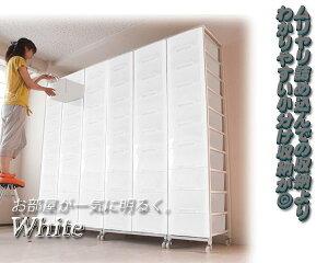大量収納プラスチックチェスト3列×9段ホワイト色