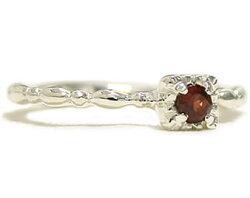 アニーブンスクエアーガーネットシルバーリング-Rubymarguerite-(天然石パワーストーンスターリングシルバー925ピンキーリングミディーオーダーメイド女性指輪レディース1月誕生石重ね付け大人可愛いシンプルシック)05P13Dec14