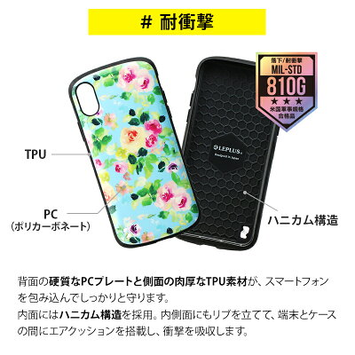 iPhoneXSiPhoneX耐衝撃ハイブリッドケースPALLETDesignフラワー花柄ワイヤレス充電対応