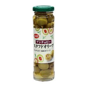 アンチョビー・スタフドオリーブ 瓶140g 【 ピクルス オリーブおつまみ アンチョビ 種なし 種無し グリーン オリーブ 小豆島 オリーブ園 】