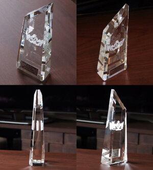【即日発送13時まで】クリスタルトロフィーガラス製オリジナル【XC-P-0108Aサイズ】高さ:24cm幅:9cm