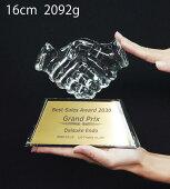 クリスタルトロフィーオリジナル握手【XC-P-0131】高さ:16cm幅:17cm
