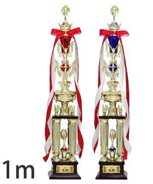 【即日発送15時まで】オリジナルトロフィー1本柱34種目から選べる人形付青【XF-03-04】高さ:1m[G]34×90【M】