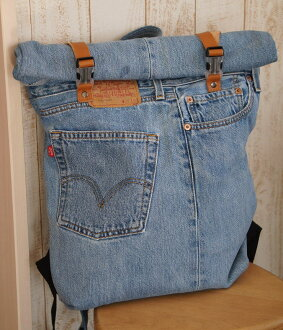 Remake jeans rolled back pack