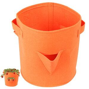 アストロ フェルトプランター 円柱形 オレンジ 三角穴開き 不織布 ポット ガーデン 園芸 イチゴ栽培 バッグ 持ち手付き 520-15 大口注文対応可(在庫要確認)