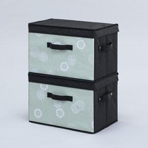 【在庫限り】【早いもの勝ち】【数量限定】【大特価】アストロ 収納ボックス 2個組 和モダン柄 グリーン×ブラック 丈夫なMDF使用 カラーボックス対応 積み重ね可能 613-29 大口注文対応可(在