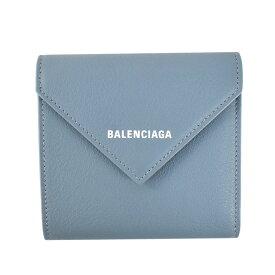 バレンシアガ BALENCIAGA 2つ折小銭付き財布 二つ折り財布 ミニウォレット レディース コンパクト ブルー 637450 18D3N 4791 PAPIER FLAP CO&C HO