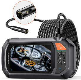 内視鏡 デュアルレンズ 横画面 4.3インチ液晶ディスプレイ 1080P ファイバースコープ セミリジッドスネークケーブル 産業用ボアスコープ 検査カメラ 6枚LEDライト 工業内視鏡 排水口/空調/自動車検査 DS430