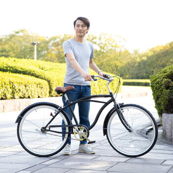 自転車26インチビーチクルーザーシティサイクル2019年新型本体おしゃれじてんしゃ街乗り【BC260-2019】【本】