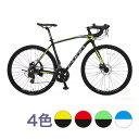 自転車 本格 ロードバイク 2019新型モデル700C×28C高級アルミ仕様 軽量ディスクブレーキ 本体 じてんしゃ シティ…