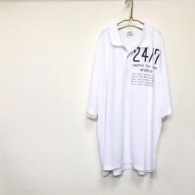 68bd982910744 5XL!!着るとめっちゃ可愛い♡ビッグポロシャツ(ホワイト)メンズ 大きいサイズ 半袖 男女兼用 レディース ブランド ロゴ ユニセックス  人気 白tシャツ 超ビッグT ...