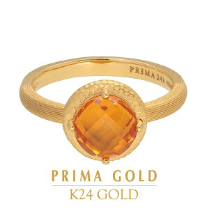 純金 指輪 シトリン リング レディース 女性 イエローゴールド 天然石 カラーストーン 宝石 誕生日 贈物 24金 ジュエリー アクセサリー ブランド プリマゴールド PRIMAGOLD K24 送料無料