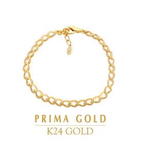 純金 24K ブレスレット リーフ しずく 葉 レディース 女性 イエローゴールド プレゼント 誕生日 記念日 贈物 24金 ジュエリー アクセサリー ブランド プリマゴールド PRIMAGOLD K24 送料無料