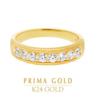 純金指輪ダイヤモンドリングレディース女性イエローゴールドギフトプレゼント誕生日贈物24金ジュエリーアクセサリーブランド地金品質保証人気プリマゴールドPRIMAGOLDK24送料無料