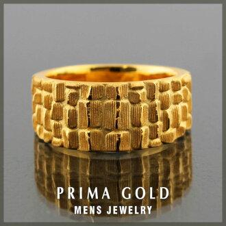 -24 K 黄金男士戒指 24 金黄金 K24YG PRIMAGOLD 表面纯金