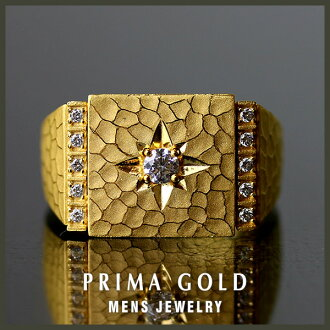 It is recommended to pure gold men mark stand ring K24 gold PRIMAGOLD gift, a present