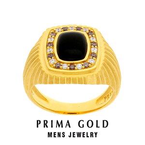 純金 24K オニキス シャンペンダイヤモンド 印台リング 指輪 メンズ 男性 イエローゴールド プレゼント 誕生日 記念日 贈物 24金 ジュエリー アクセサリー ブランド プリマゴールド PRIMAGOLD K24