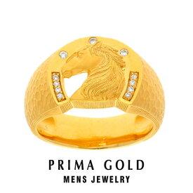 純金 ダイヤモンド 馬 ホース 印台リング 指輪 メンズ 男性 イエローゴールド ギフト プレゼント 誕生日 記念日 贈物 24金 ジュエリー アクセサリー ブランド 地金 品質保証 人気 プリマゴールド PRIMAGOLD K24 送料無料