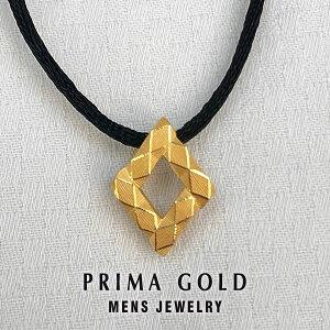 【あす楽】K24 純金 メンズ ダイヤカット ペンダント ネックレス紐 男性 24金 イエローゴールド ジュエリー PRIMAGOLD プリマゴールド 送料無料