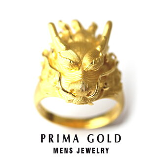Pure gold dragon dragon ring ring men man yellow gold gift present birthday memorial day present 24-karat gold jewelry accessories brand metal guarantee of quality popularity prima ballerina gold PRIMAGOLD K24