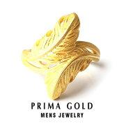 24KMens純金リング【指輪】【フェザーモチーフ】24金純金K24YG【メンズ男性用ゴールド】PRIMAGOLDプリマゴールド【送料無料】【ギフト贈り物】