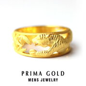 純金メンズリング【タイガー虎】【イエローゴールド】K2424金純金ゴールド【男性用Mens】PRIMAGOLDプリマゴールド【正規代理店】【送料無料】ギフト・贈り物にもおすすめ