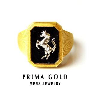 純金 24K ホース オニキス 印台リング 指輪 メンズ 男性 イエローゴールド K18WG プレゼント 誕生日 記念日 贈物 24金 ジュエリー アクセサリー ブランド プリマゴールド PRIMAGOLD K24 送料無料