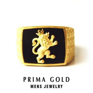 純金 24K ライオン 印台リング 指輪 メンズ 男性 イエローゴールド オニキス プレゼント 誕生日 記念日 贈物 24金 ジュエリー アクセサリー ブランド プリマゴールド PRIMAGOLD K24 送料無料