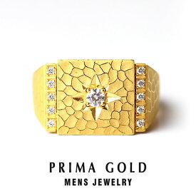 純金 ダイヤモンド 印台リング 指輪 メンズ 男性 イエローゴールド ギフト プレゼント 誕生日 記念日 贈物 24金 ジュエリー アクセサリー ブランド 地金 品質保証 人気 プリマゴールド PRIMAGOLD K24 送料無料