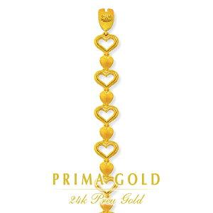 純金 24K ブレスレット ハート レディース 女性 イエローゴールド プレゼント 誕生日 記念日 贈物 24金 ジュエリー アクセサリー ブランド プリマゴールド PRIMAGOLD K24 送料無料